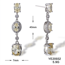 Topaz and White Cubic Zarconia Dangle Earrings on Silver