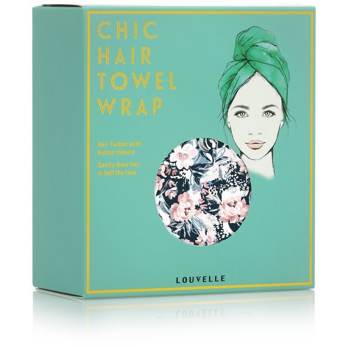 Louvelle riva Hair Towel Wrap in Painted Peony