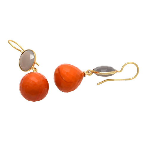 Raindrop Orange Chalcedony and Grey Chalcedony Earrings  - Melange Chic