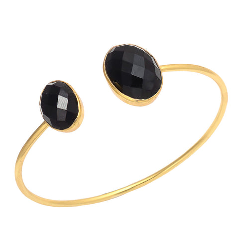 New York - Gold and Onyx Cuff Bracelet Onyx - Melange Chic
