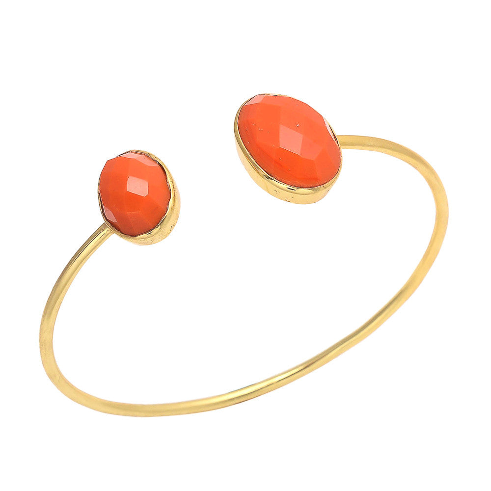 New York - Gold and Orange Chalcedony Cuff Bracelet Orange Chalcedony - Melange Chic
