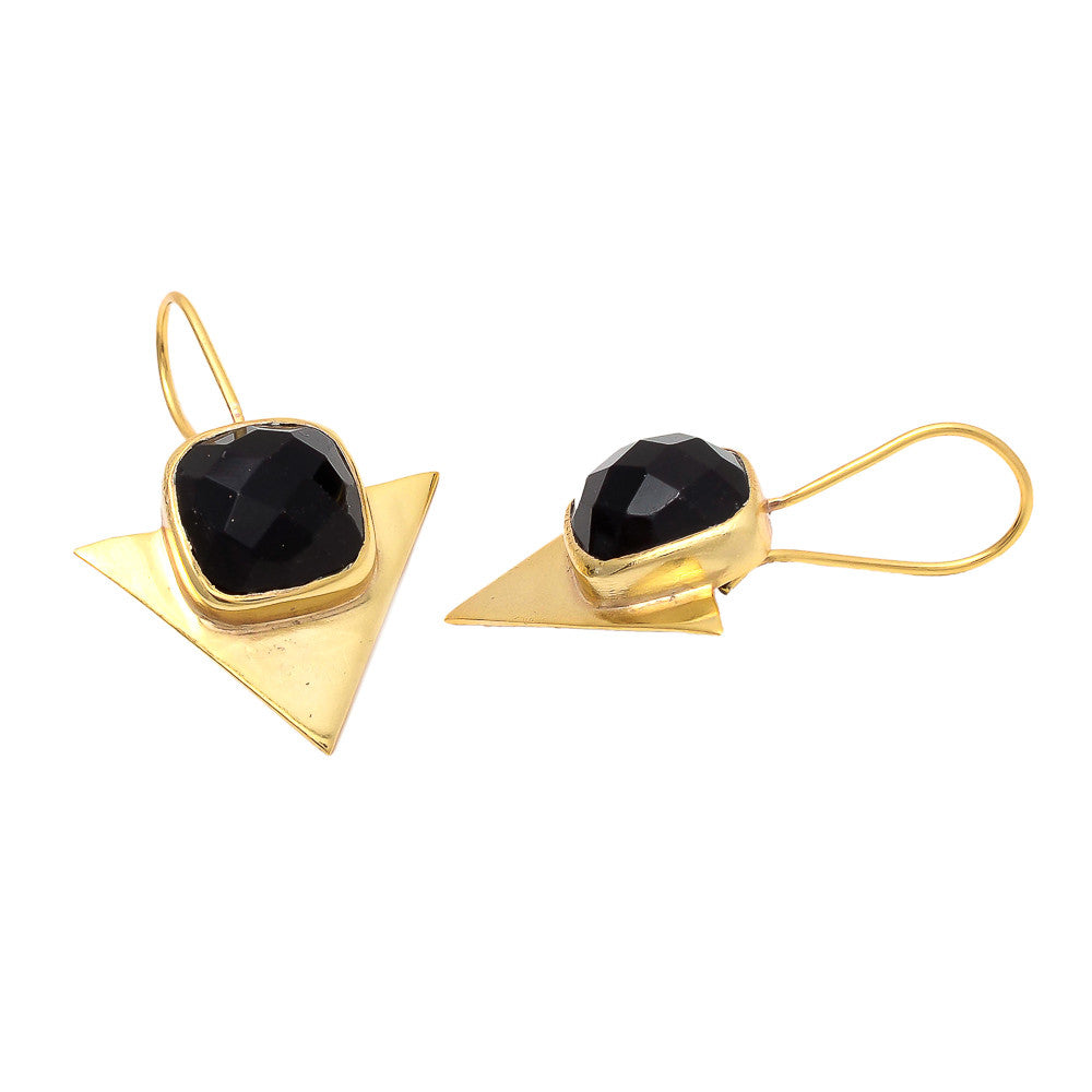 Cleopatra - Gold Vermeil and Onyx Triangle Earrings Onyx - Melange Chic
