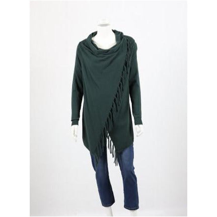 Whispers - Draped Cardi with Fringe - Army Green