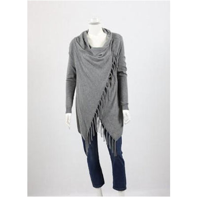 Whispers - Draped Cardi with Fringe - Dark Grey