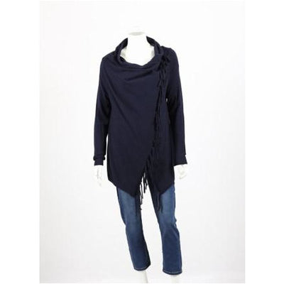 Whispers - Draped Cardi with Fringe - Navy