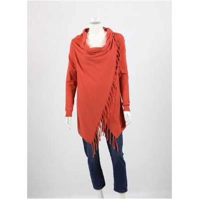 Whispers - Draped Cardi with Fringe - Rust
