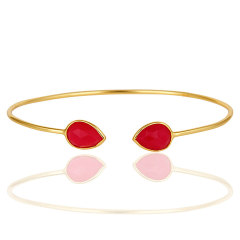 Hydro Pink Chalcedony Gemstone 18K Yellow Gold Plated Sterling Silver Bangle