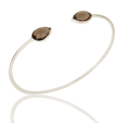 Handmade Solid 925 Sterling Silver Smokey Topaz Sleek Adjustable Bangle