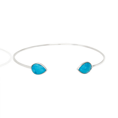 Pear Blue Chalcedony Gemstone Bangle