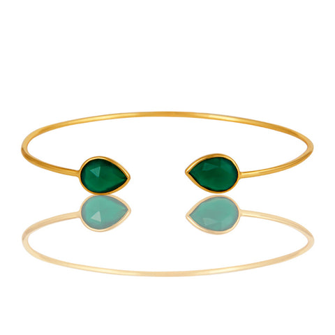 Natural Green Onyx Gemstone Sterling Silver Adjustable Bangle Vermeil Finish