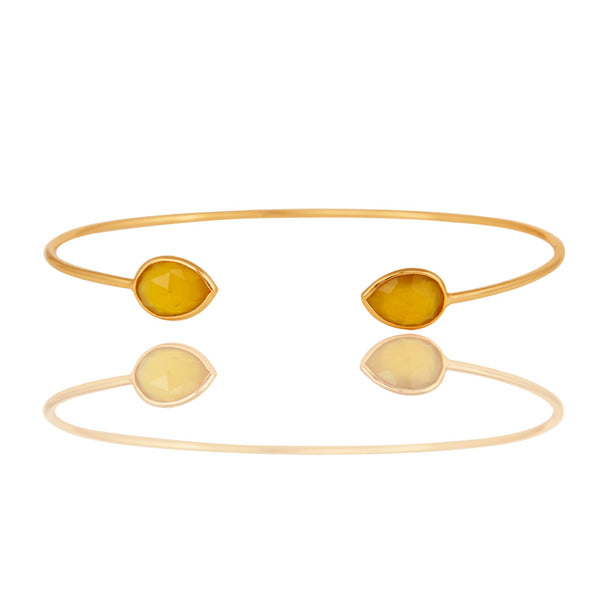 Faceted Hydro Yellow Chalcedony 18K Gold Over Sterling Silver Adjustable Bangle