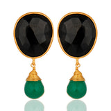 Gold Plated Sterling Silver Black And Green Onyx Drop Earrings