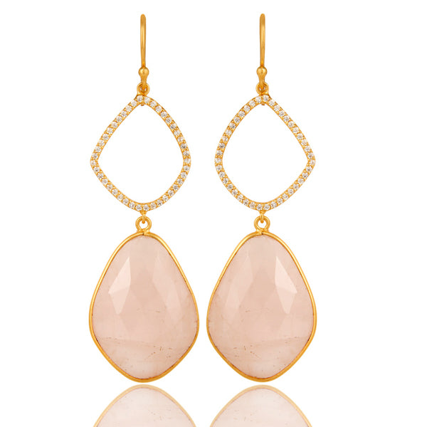 18K Yellow Gold Plated Sterling Silver Rose Quartz And Cubic Zarconia Dangle Earrings