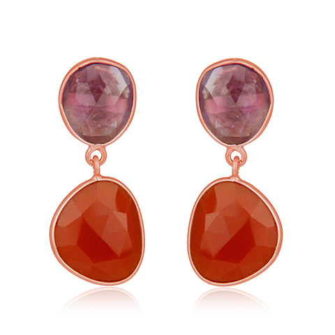 Amethyst and Red Onyx Gemstone Rose Gold Plated Silver Drop Earrings