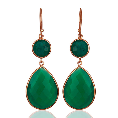 Green Onyx and Amazonite Drop Earrings