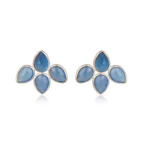 Petal Blue Chalcedony Stud Earrings