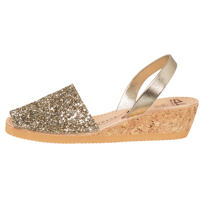 Avarcas -  Gold Glitter Wedge