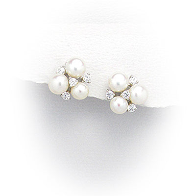 Natural Fresh Water Three Pearl and Zarcon Earrings