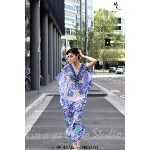 Procelian Blue Flower - long Kaftan
