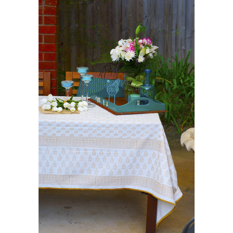 Blanc et Or  - White and Gold Blockprint Paisley Tablecloth  - Melange Chic - 1