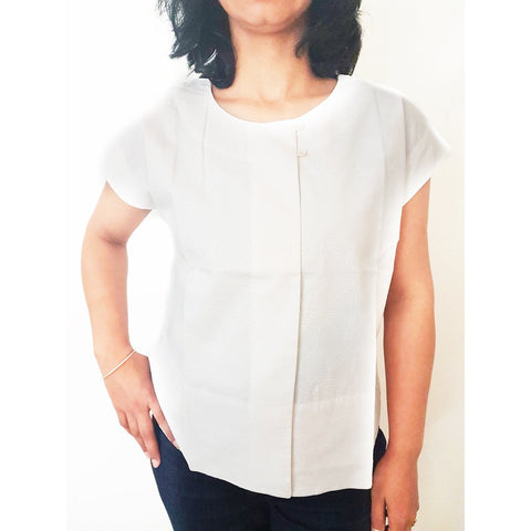 Asha - White Hand Block Printed Cotton Top
