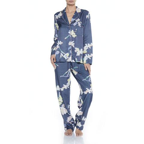 Gingerlilly blue printed viscose pj set