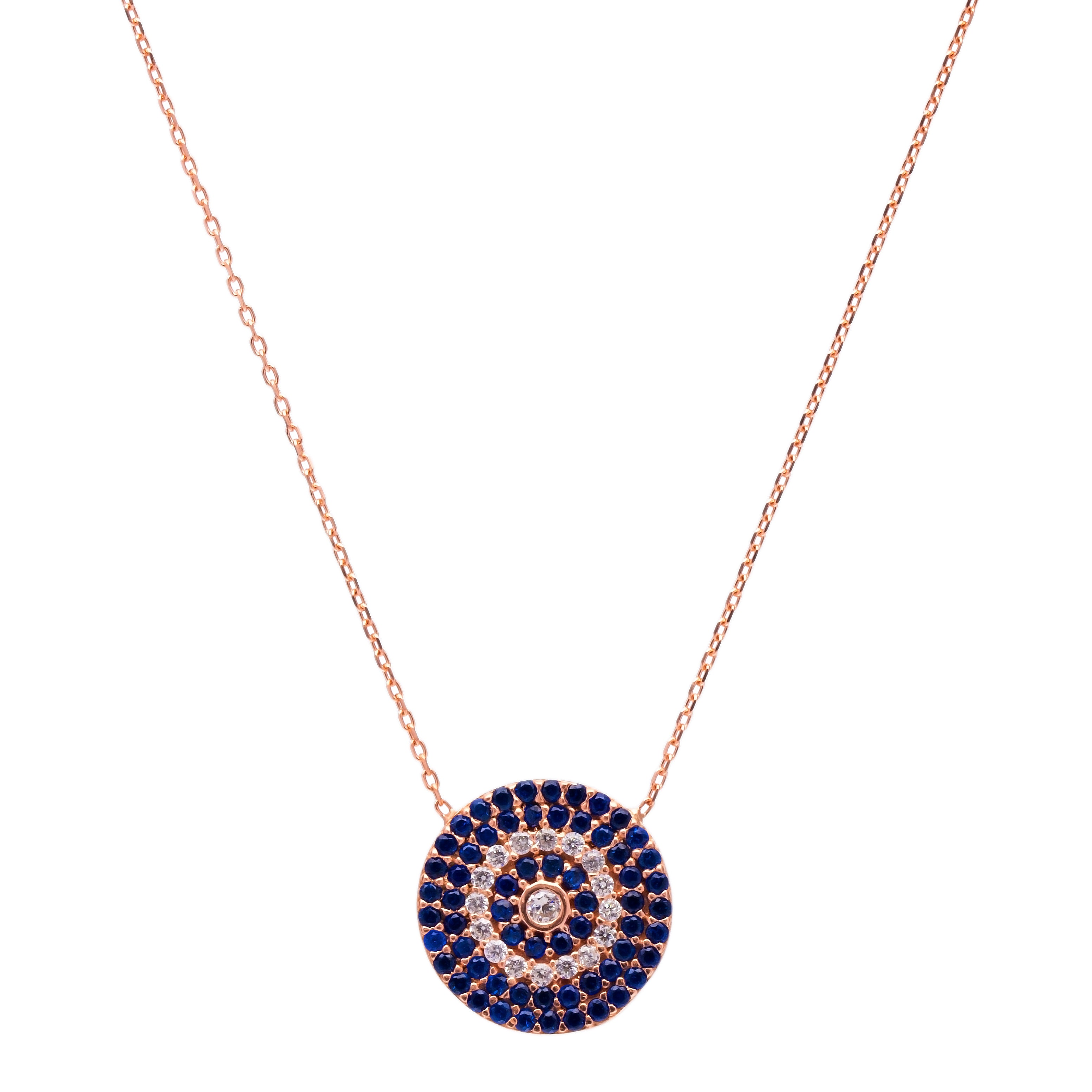 Small Round Navy/White Stone Lapis pave set Necklace in Rose Gold