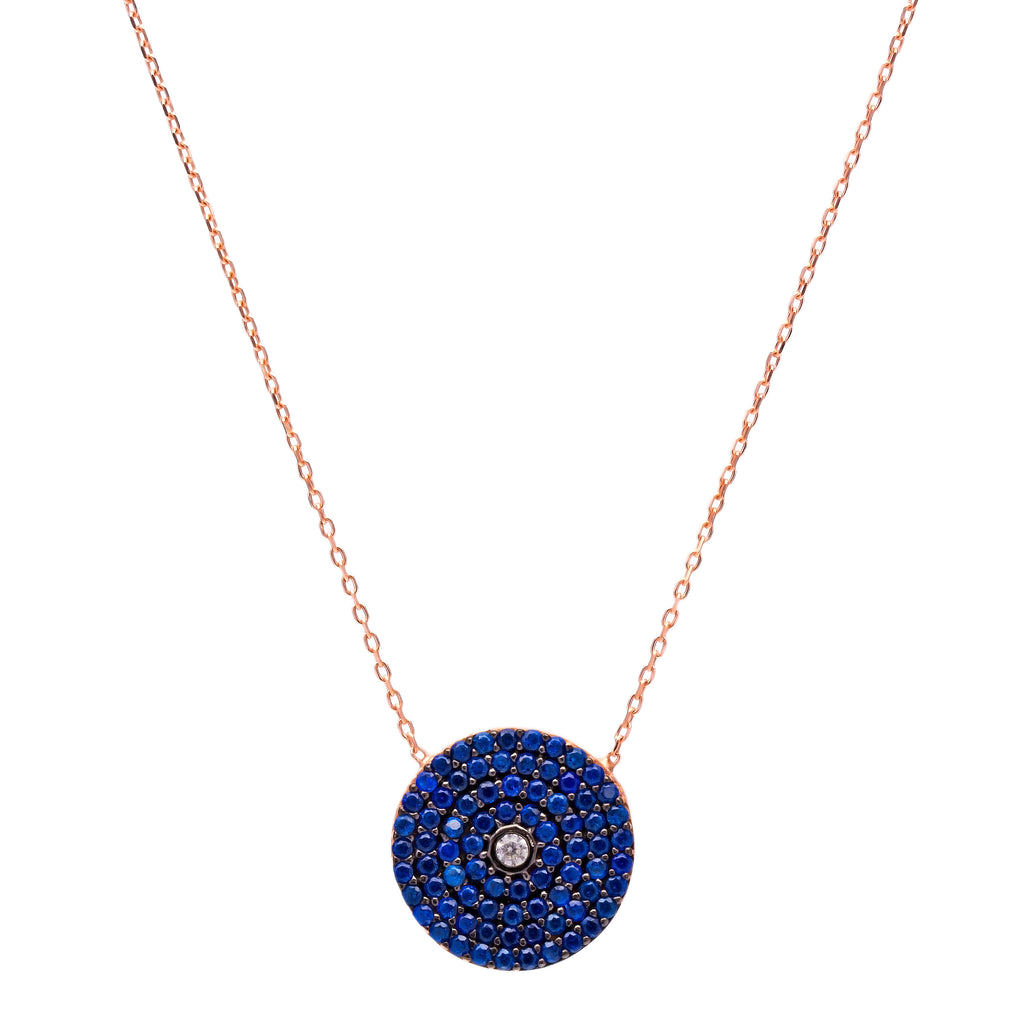 Small Round Dark Blue Stone Lapis pave set Necklace in Rose Gold