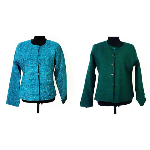 Cotton Teal Reversible Quilted Jacket
