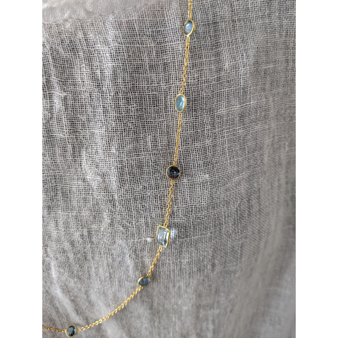 Sterling Silver Ocean Long station Necklace