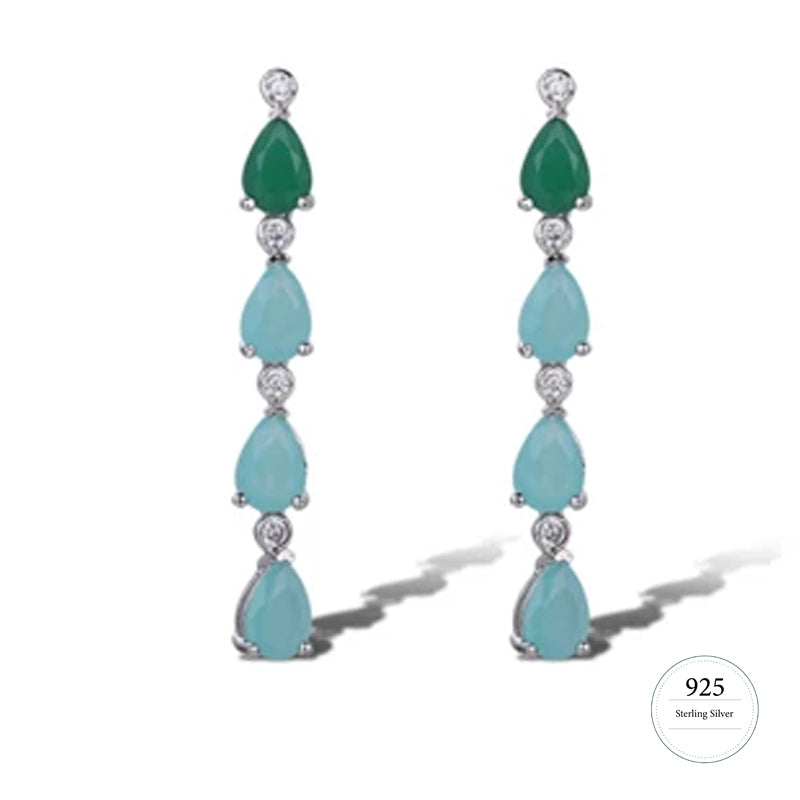 Emerald Green and Aqua Cubic Zarconia Dangle Earrings on Silver