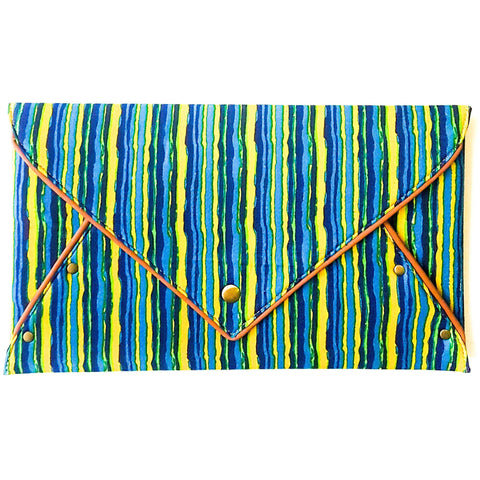Cotton Yellow Blue Envelope Clutch