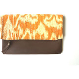Leather and Mustard Kantha Foldover Clutch