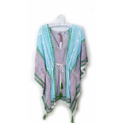 Purple and Green Chevron Cotton Kaftan