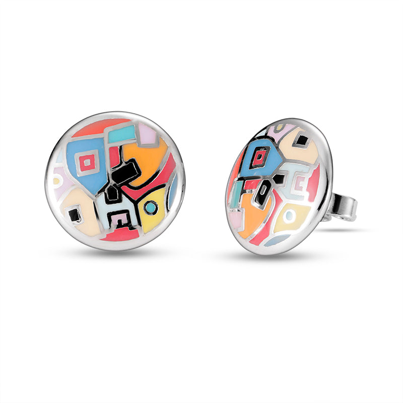 Multi Enamel Multi Colour Studs Earrings
