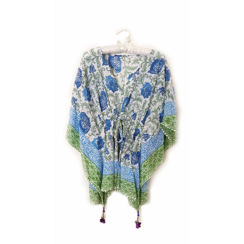 Blue and Green Floral Cotton Kaftan