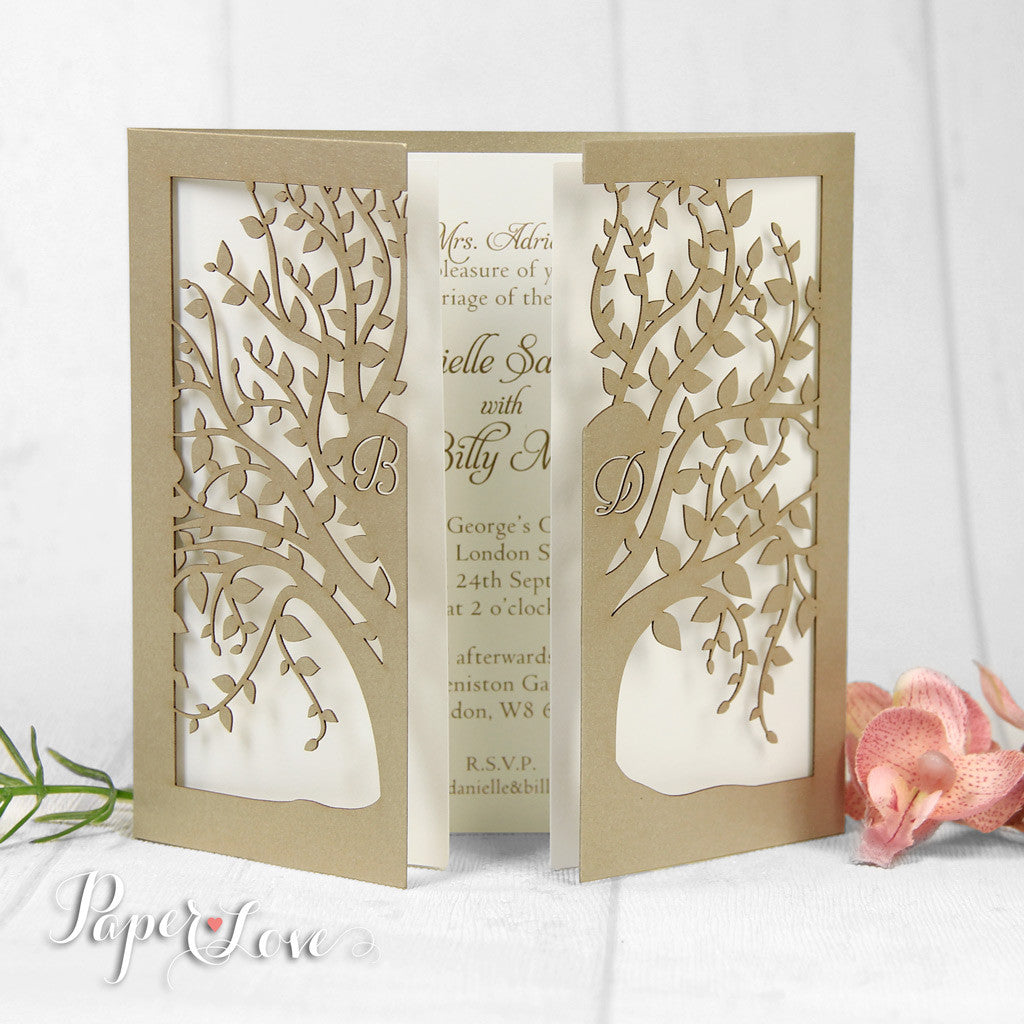 amazing laser tree high quality personalised laser cut day wedding, Wedding invitations