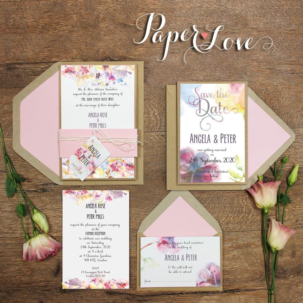 Day Invitation Watercolor Flowers Rustic