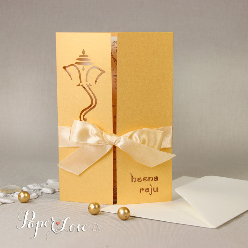 Ganesha Luxury Gatefold Indian Hindu Asian Wedding Invitation Personalised