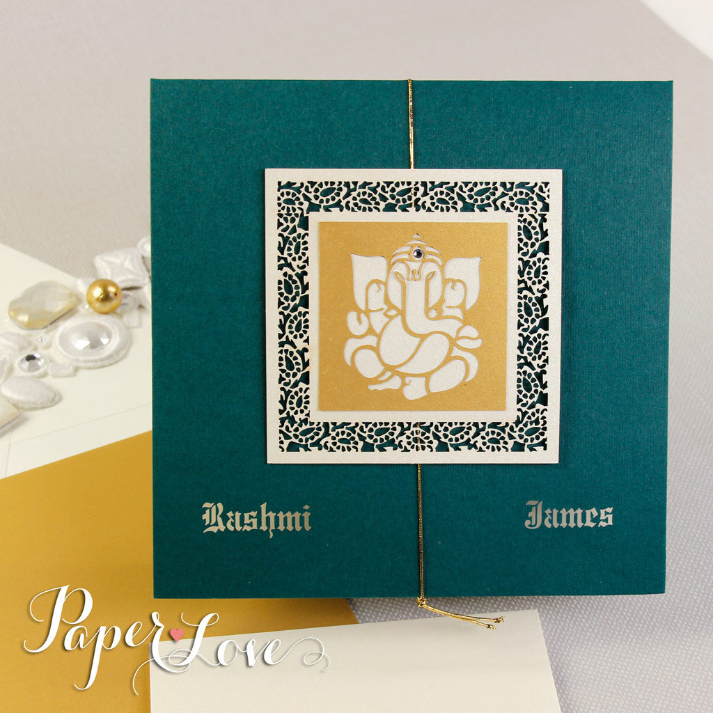 Ganesh Indian Asian Muslim Wedding Invitation Personalised, Laser Cut With Crystals