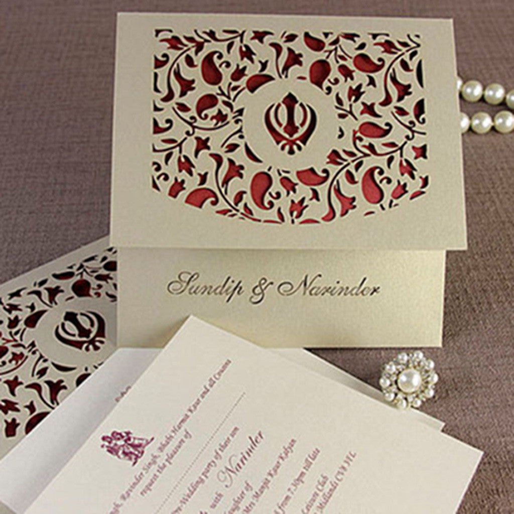 Luxury Intricate Lace Laser Cut Sikh Overlap Fold Indian Hindu Asian Wedding Invitation