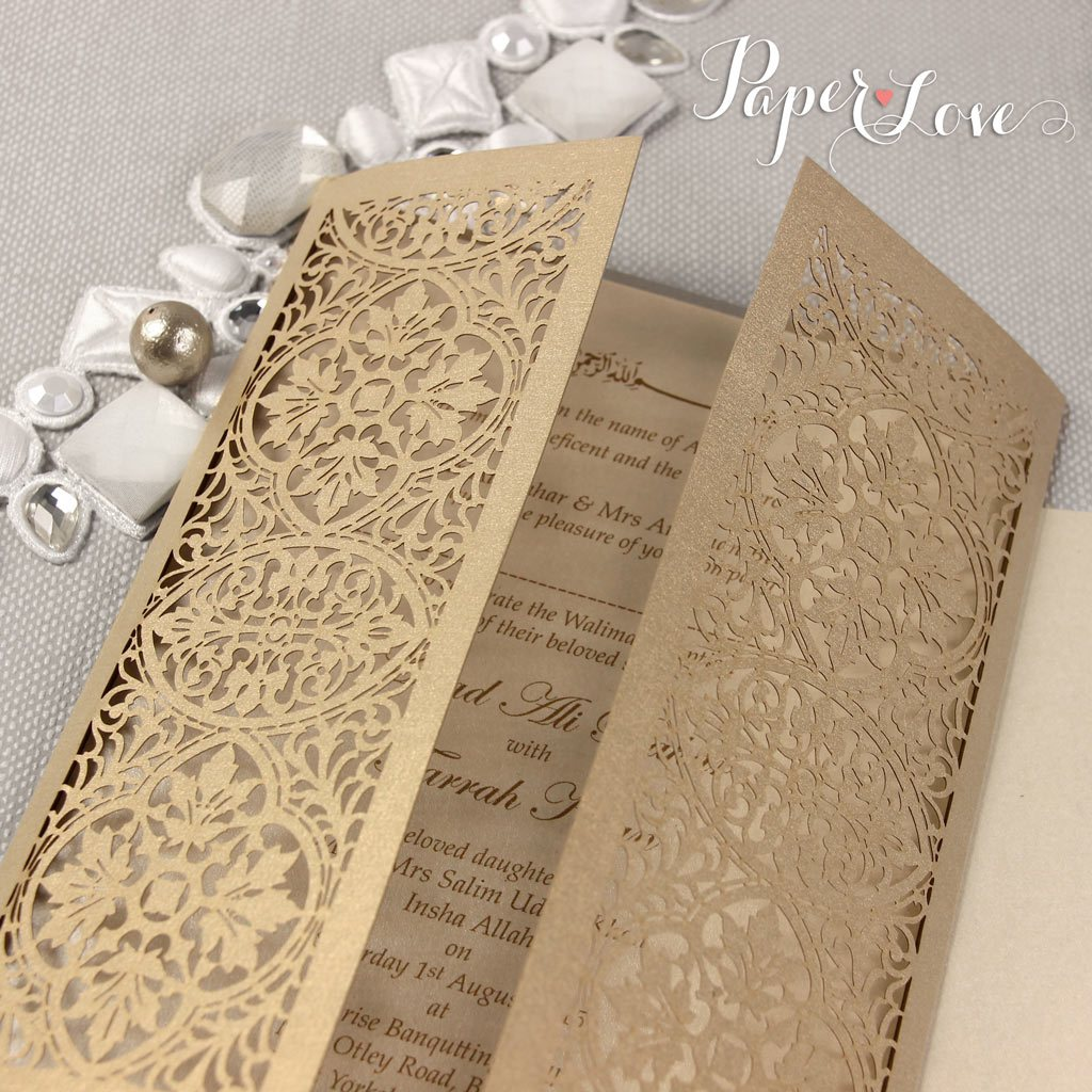 SAMPLE of ELEGANT GATEFOLD WEDDING DAY INVITATION PERSONALISED LASER CUT NAMES ON COVER ASIAN INDIAN GOLD