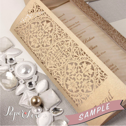 SAMPLE of YOUR LASER CUT WEDDING DAY EVENING INVITATION WITH RIBBON