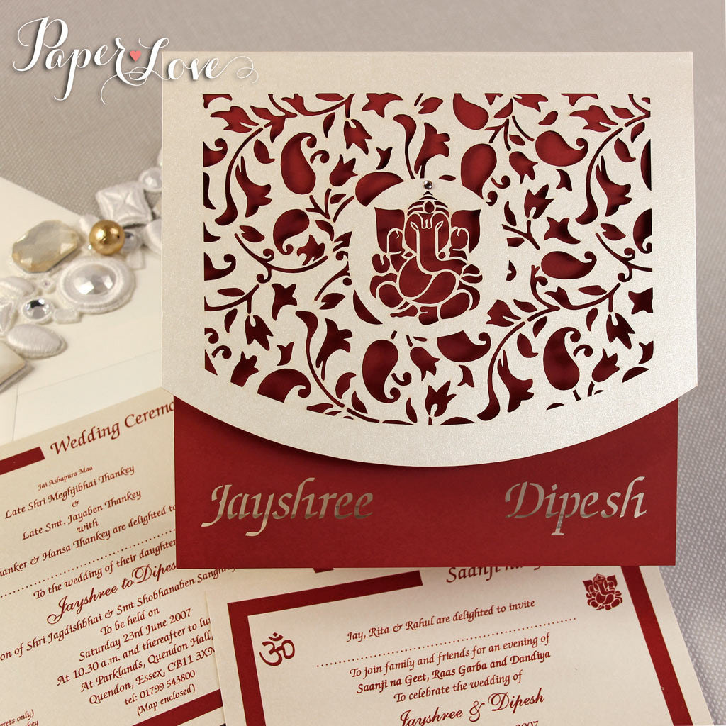 Asian Wedding Invitation, Laser Cut Ganesha On Cover, Names Bride ...