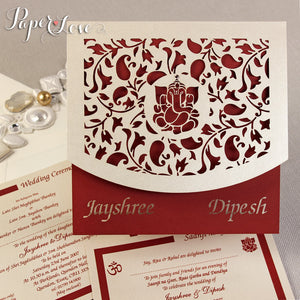 Asian Wedding Invitation, Laser Cut Ganesha On Cover, Names Bride & Groom