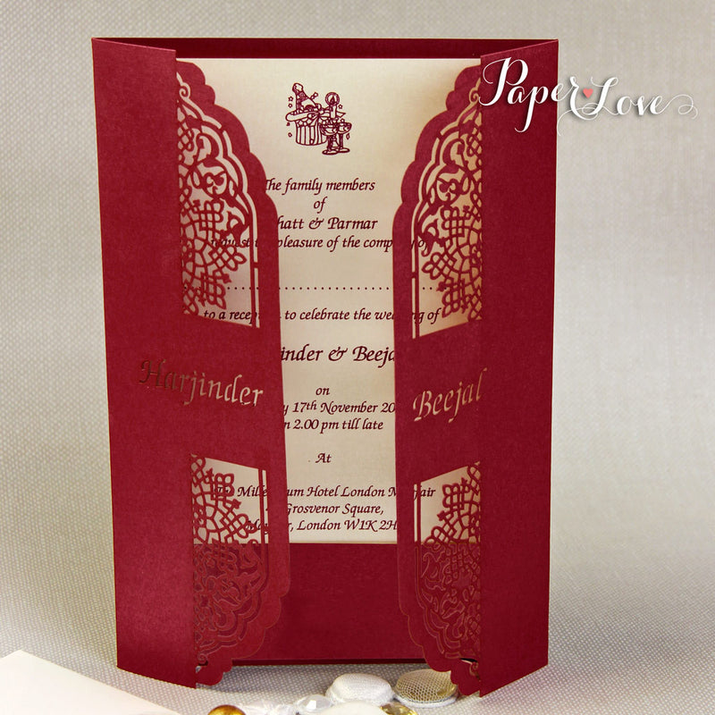 Luxury Gatefold Wedding Day Invitation Personalised Laser Cut Names On Cover