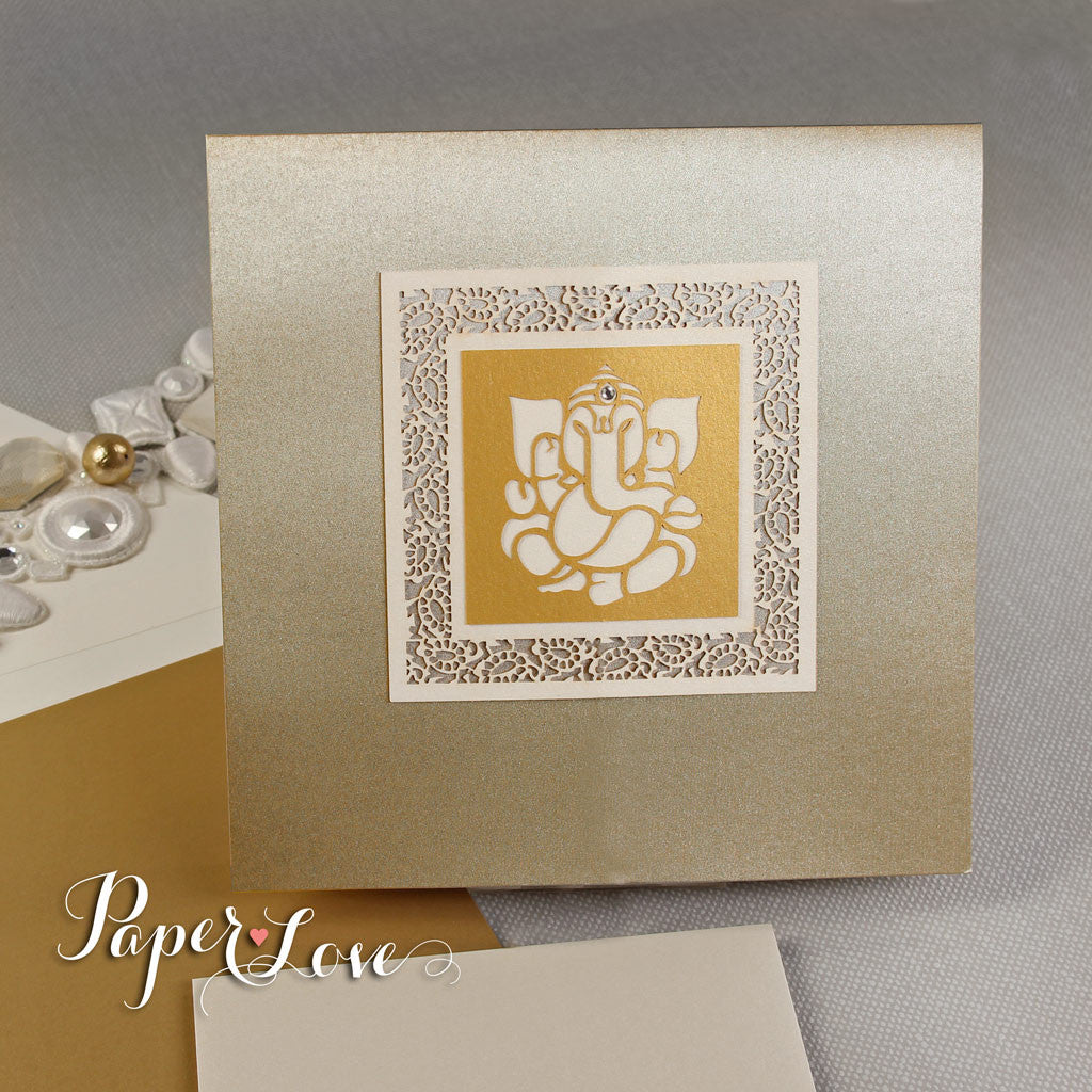 Ganesha Palm Facing Forward Luxury Indian Hindu Asian Wedding Invitation