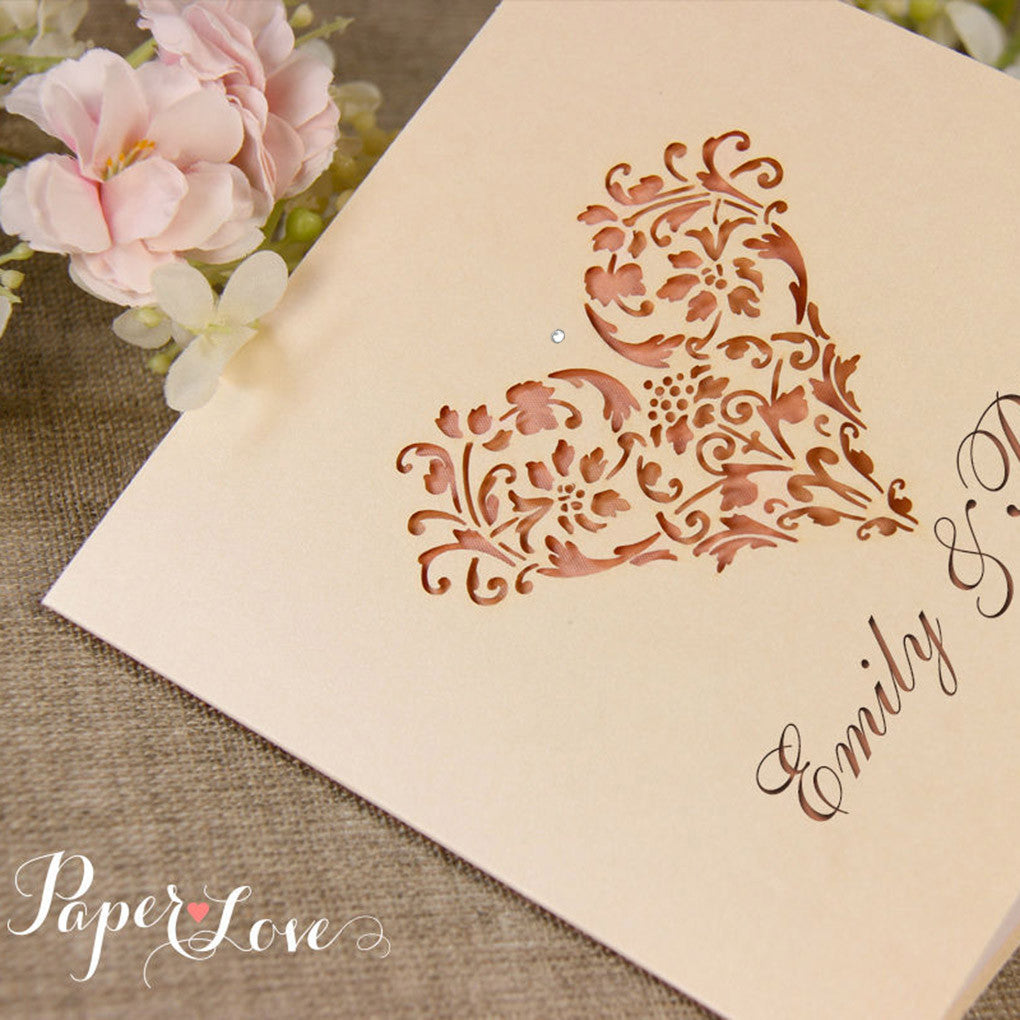 Embossed Laser Cut Gatefold Bordered Flowers with Ribbon – Paper ...