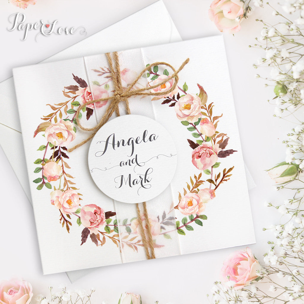 Peach Rustic Flower Boho Wreath Wedding Day Invitation With Application & Jute Twine & Ribbon