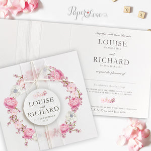 Square Pink Flowers Folded Wedding Day Invitation With Application, Ribbon & White Twine